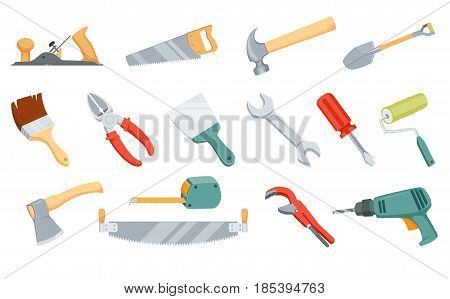Repair tool. Sawing saw, hammer nail, dig shovel, paint brush, roller, cut wire cutters, tighten nut wrench, spanner, spatula putty knife, tighten screw screwdriver, drill, ax chopping, measuring tape poster