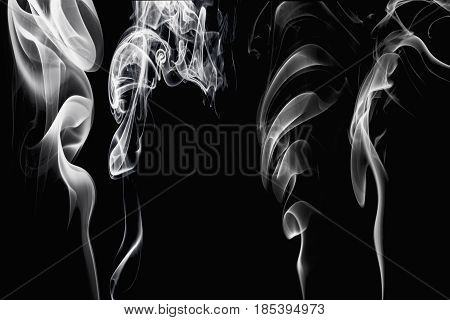 Set white smoke collection on black background