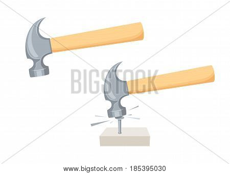 Hammer a nail. Repair tool. Repair tool. Joinery, builder or carpenter instruments vector illustration. Working process vector illustration isolated on white.
