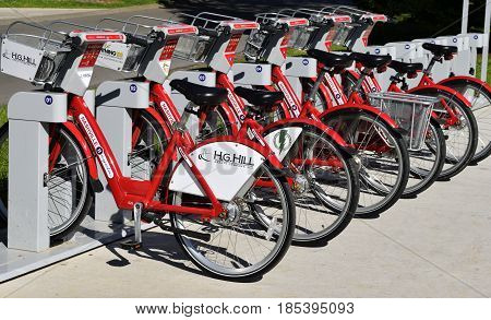 NASHVILLE, TENNESSEE, USA - MAY 01, 2017: Nashville B Cycle bike rental at Centennial Park and throughout the city.