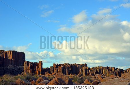 Basalt column rock formations at Bombo Headland quarry, New South Wales coast, Australia