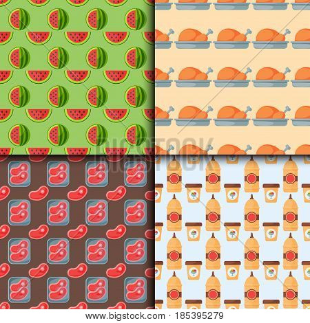 Healthy food seamless pattern diet dinner lunch cooking nutrition cuisine vector illustration. Restaurant eating dish organic natural gourmet delicious fruit ingredient.