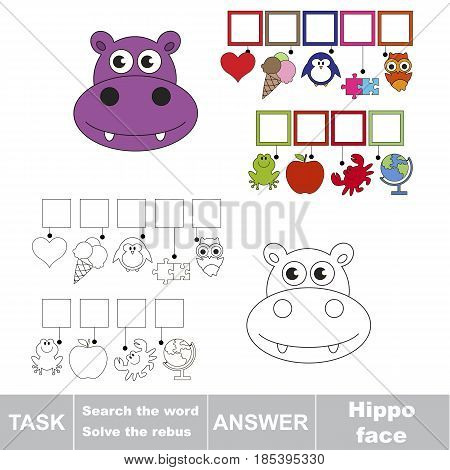 Educational puzzle game for kids. Find the hidden word Hippo