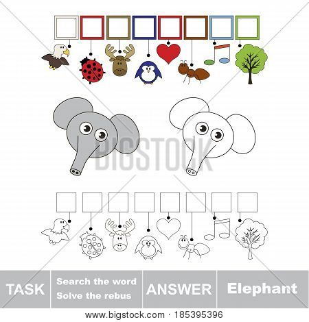 Educational puzzle game for kids. Find the hidden word Elephant