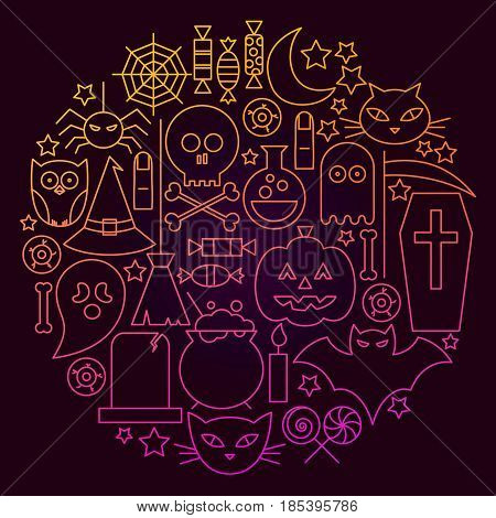 Halloween Line Icon Circle Concept. Vector Illustration of Scary Holiday Objects.
