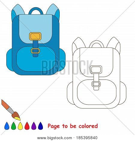 Backpack to be colored, the coloring book for preschool kids with easy educational gaming level.