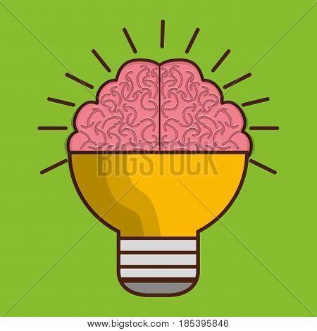 brain bulb icon over green background. colorful design. vector illustration