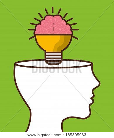 head with brain bulb icon over green background. colorful design. vector illustration