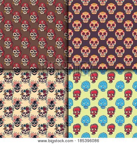 Different style skulls faces seamless pattern vector illustration halloween horror style tattoo anatomy art. Cartoon decoration gothic human skeleton background. Collection graphic sketch spooky.