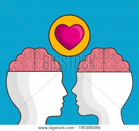 heads with brain and heart icon over blue background. colorful design. vector illustration