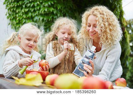 Family with children peeling apples as teamwork at garden