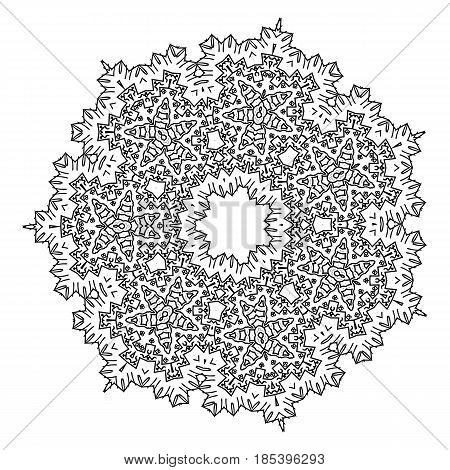 Round Element For Coloring Book. Black And White Mandala