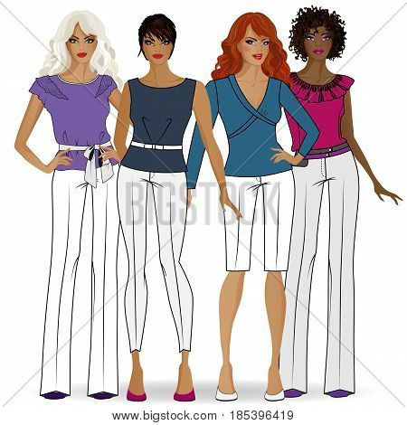 A collection of clothes for girls on a white background