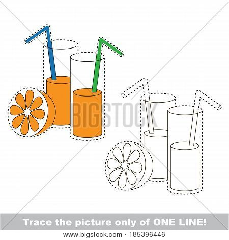 Orange Juice. Dot to dot educational game for kids, trace only of one line.