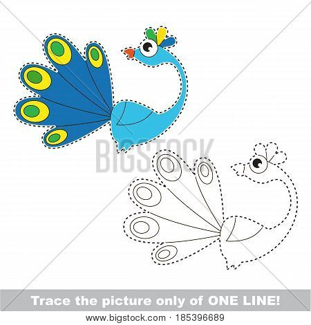 Peacock. Dot to dot educational game for kids, trace only of one line.