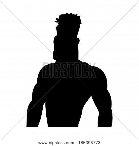 man athletic bodybuilding sport pictogram vector illustration