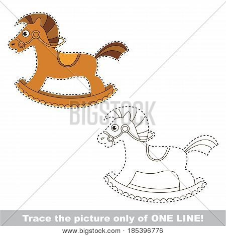 Rocking Horse. Dot to dot educational game for kids, trace only of one line.