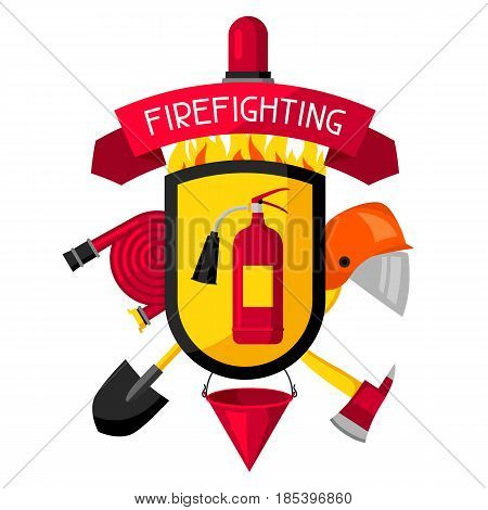 Badge with firefighting items. Fire protection equipment.