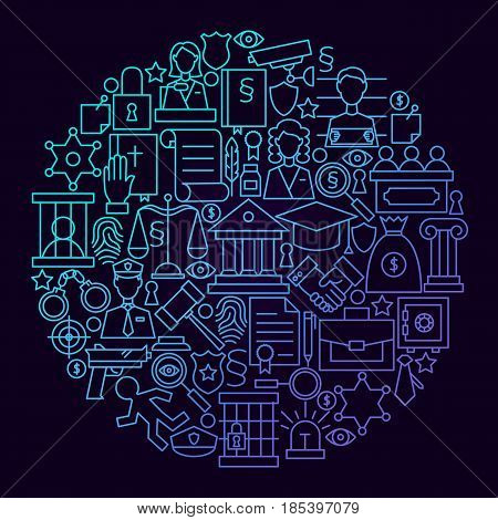 Law Line Icon Circle Concept. Vector Illustration of Attorney and Lawyer Objects.