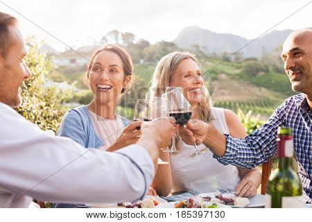 Happy friends raising their glasses in a toast  in a winery farm. Smiling mature woman and men enjoying a picnic together. Middle aged multiethnic couple having dinner together and toasting wine. poster