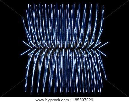 blue abstract form and black background particles