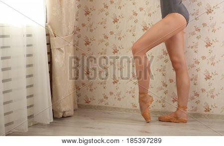 Unrecognizable Professional Ballerina In Sun Light In Home Interior. Ballet Concept.