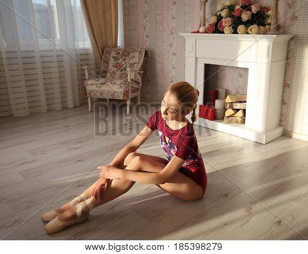 Ballerina In Pointe Shoes Makes Ballet Leg Stretching, Morning Sunshine