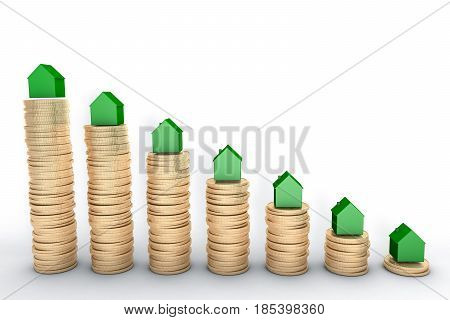 3d illustration: high quality rendering: Mortgage concept. Green houses on stacks of golden coins isolated on white background Metal copper house graph chart stock market.