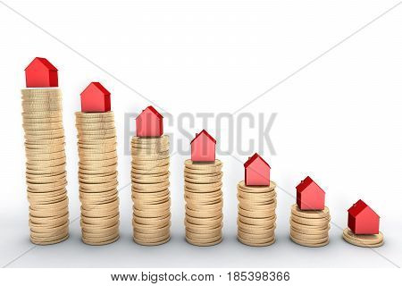 3d illustration: high quality rendering: Mortgage concept. Red houses on stacks of golden coins isolated on white background Metal copper house graph chart stock market