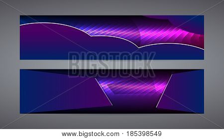 Horizontal Web Banner Background Blue Purple Neon Effect01