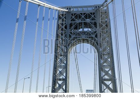 View Of George Washington Bridge Over Hudson River.