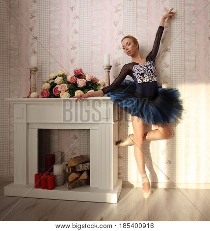 Portrait Of A Professional Ballet Dancer In Sun Light In Home Interior, Standing On One Leg. Ballet