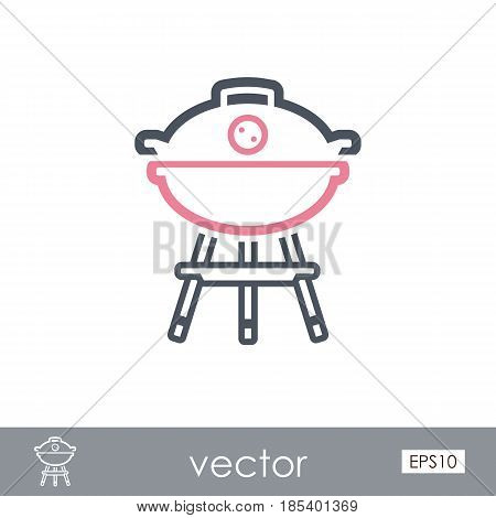 Barbecue grill outline vector icon. Summer. Summertime. Holiday. Vacation eps 10