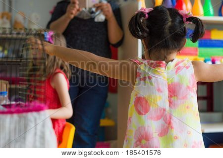 Eskisehir, Turkey - May 05, 2017: Preschool Little Girl With Dress Posing Her Mother With Open Arms
