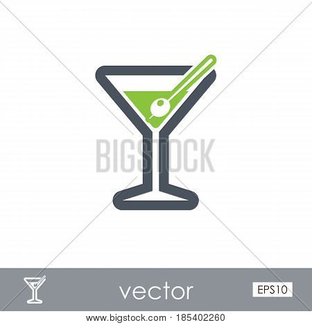 Martini. Cocktail outline vector icon. Beach. Summer. Summertime. Holiday. Vacation eps 10