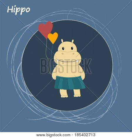 Cartoon animal, cute hippo on blue backgrounds. Flat design.Vector Illustration.