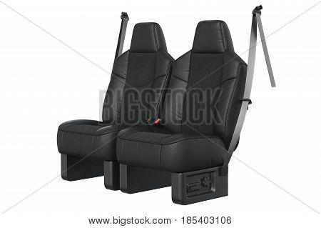 Car seat black leather luxury comfortable. 3D rendering