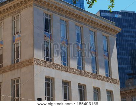 Dallas,USA, 7th May 2017. History is etched into the fascade of the U.S. Post Office Building in the Central Business District. The etchings show overland stage, pony epress, trains, air mail.