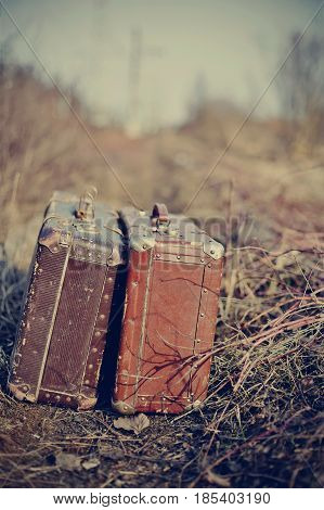Two old vintage suitcases stand among a faded grass.