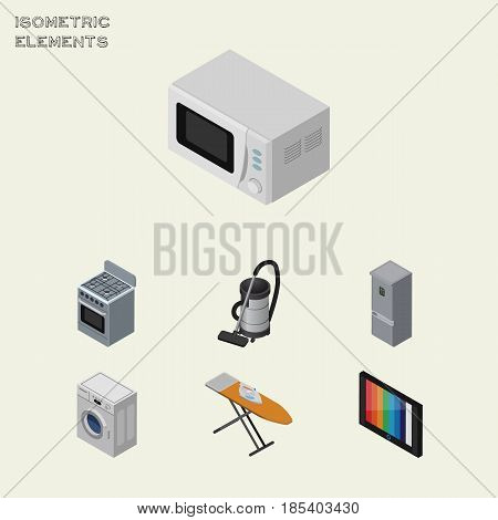 Isometric Technology Set Of Television, Stove, Cloth Iron And Other Vector Objects. Also Includes Fridge, Kitchen, Vac Elements.