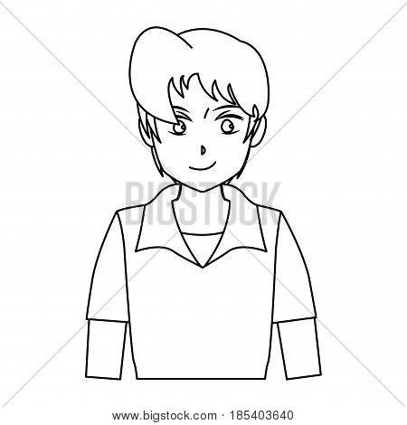 character boy anime teenager outline vector illustration