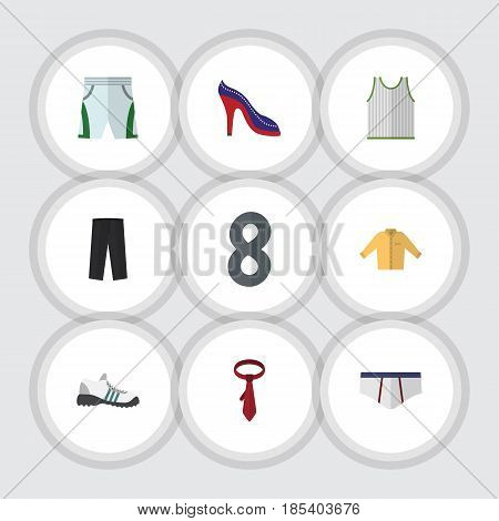 Flat Clothes Set Of Underclothes, Singlet, Heeled Shoe And Other Vector Objects. Also Includes Heeled, Sandal, Trousers Elements.