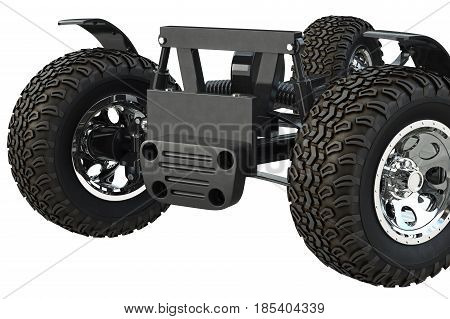 Car frame chassis with wheels, close view. 3D rendering