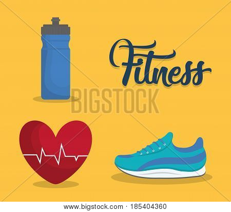 water bottle, cardio heart and sport shoes icon over background. fitness lifestyle concept. colorful design. vector illustration
