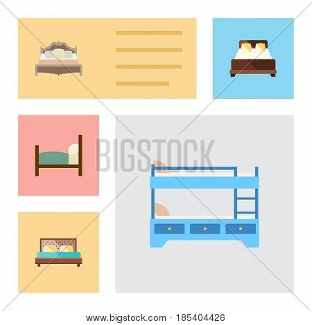 Flat Mattress Set Of Mattress, Bunk Bed, Hostel And Other Vector Objects. Also Includes Hostel, Bedroom, Bearings Elements.