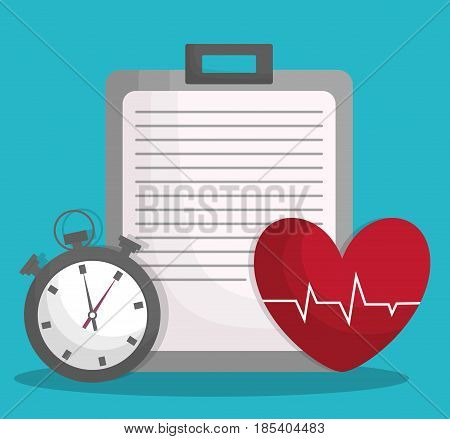 chronometer, cardio heart and report table icon over turquoise background. fitness lifestyle concept. colorful design. vector illustration