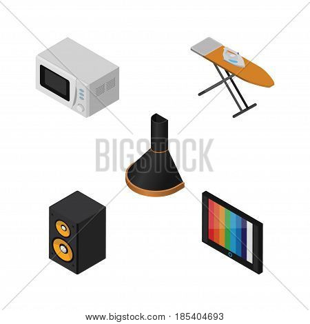 Isometric Appliance Set Of Music Box, Microwave, Air Extractor And Other Vector Objects. Also Includes Stove, Board, Television Elements.