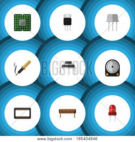 Flat Technology Set Of Mainframe, Bobbin, Receiver And Other Vector Objects. Also Includes Semiconductor, Iron, Destination Elements.