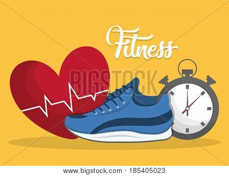 cardio heart, sport shoes and chronometer icon over yellow background. fitness lifestyle concept. colorful design. vector illustration
