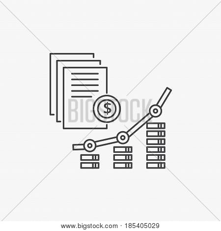Applications and Revenue growth vector line icon. Internet marketing concept.